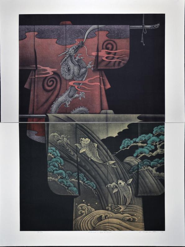 Kimono - Ryu & Carp (diptych)